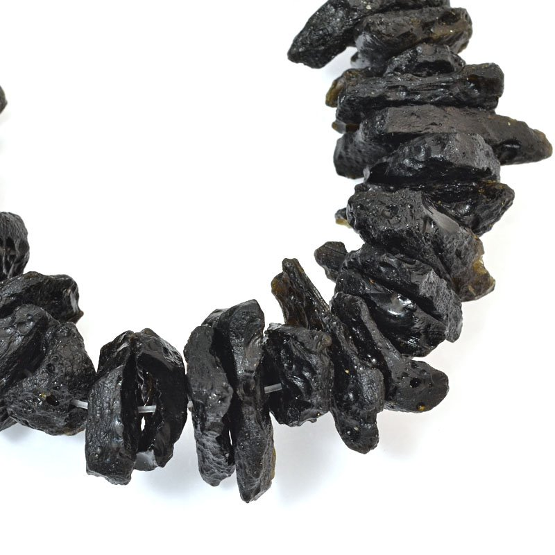 s61036 Stone Beads - Limited Edition -  Freeform Chips/Nuggets - Black Lava (strand)
