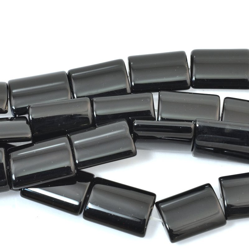 s61039 Stone Beads - 13x18mm Rectangle - Black Onyx (strand)