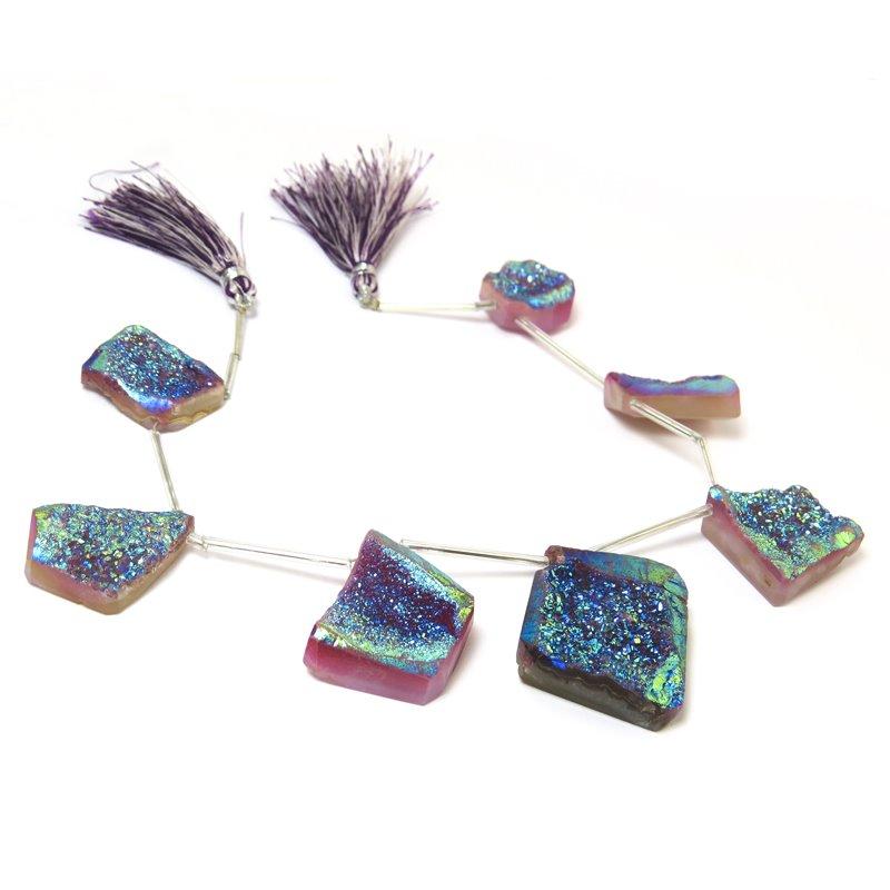 s61040 Stone Beads OOAK -  Druzy Pendants - Electric Carnival Druzy (strand)