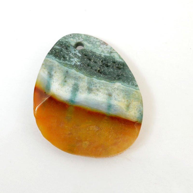 s61046 Stone Pendant - OOAK -  Faceted Oval - Ocean Jasper
