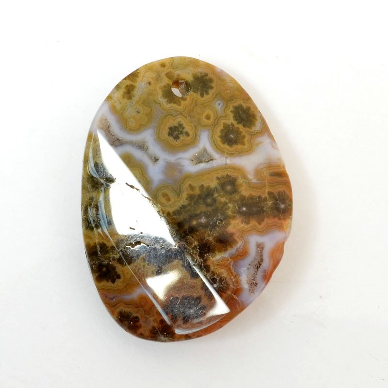 s61047 Stone Pendant - OOAK -  Faceted Oval - Ocean Jasper