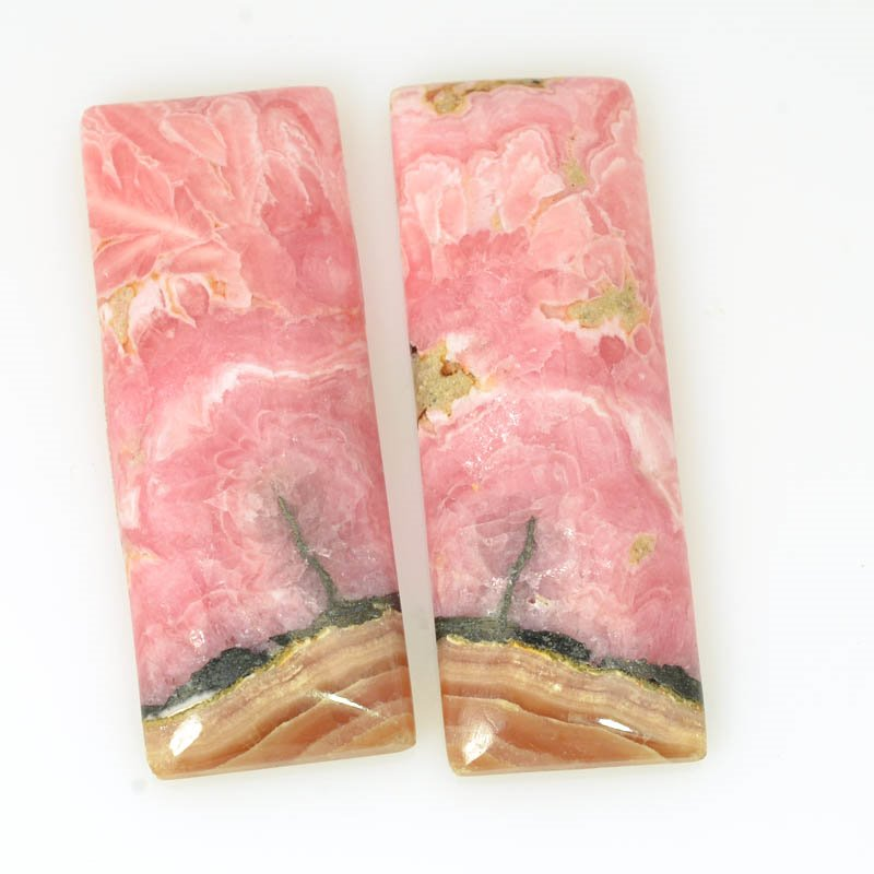 s61123 Stone Cabochon - OOAK - 16x42mm Book Matched Rectangles - Rhodochrosite (Pair)