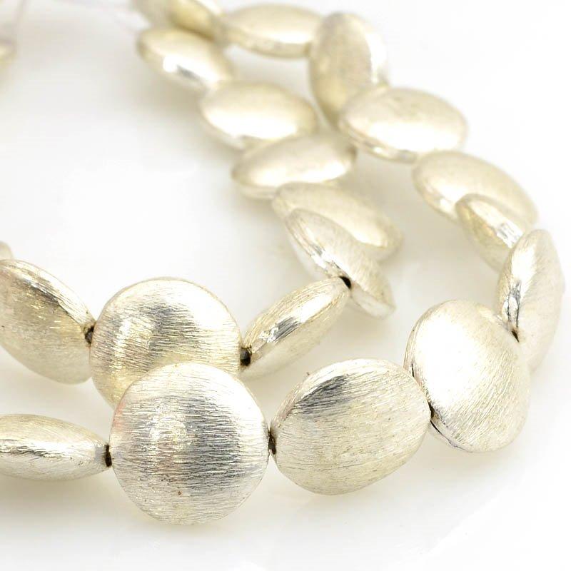 s61150 Metal Beads - 12mm Lentil - Brushed Silver (strand)