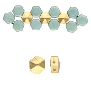 s61254 Cymbal Metal Bead -  Galini - Honeycomb Bead Substitute - Gold Plated (4)