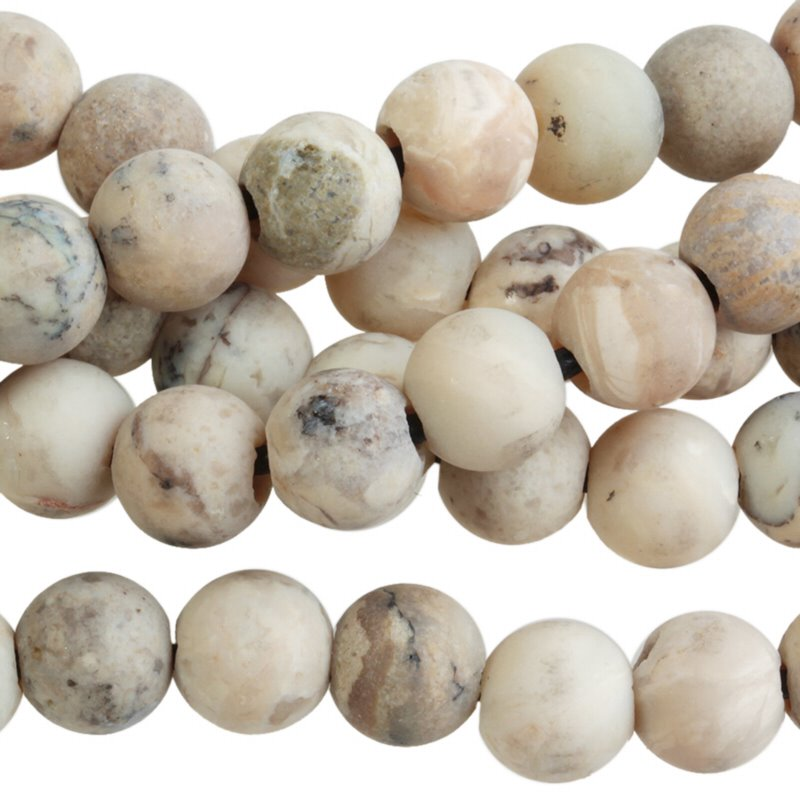 s62304 Stone Beads - 8mm Big Hole Round - Matte White African Opal (strand)