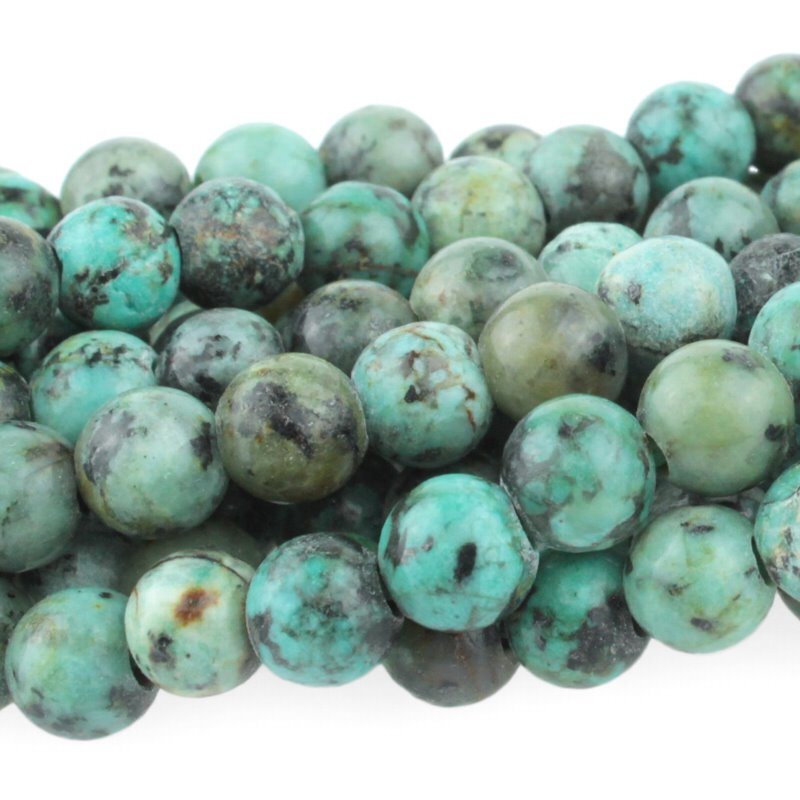 s62308 Stone Beads - 8mm Big Hole Round - African Turquoise (strand)