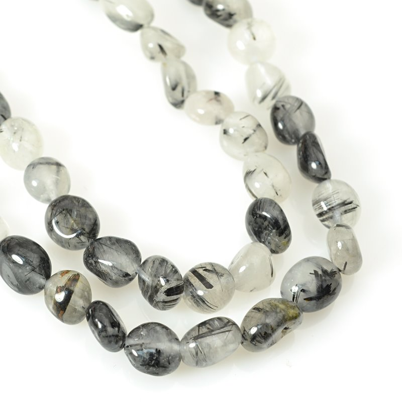 s62420 Stone Beads - 8x10mm Pebble - Black Tourmalinated Quartz (strand)