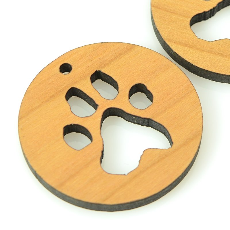 s62440 Pendant -  Pawprint - Maple Wood