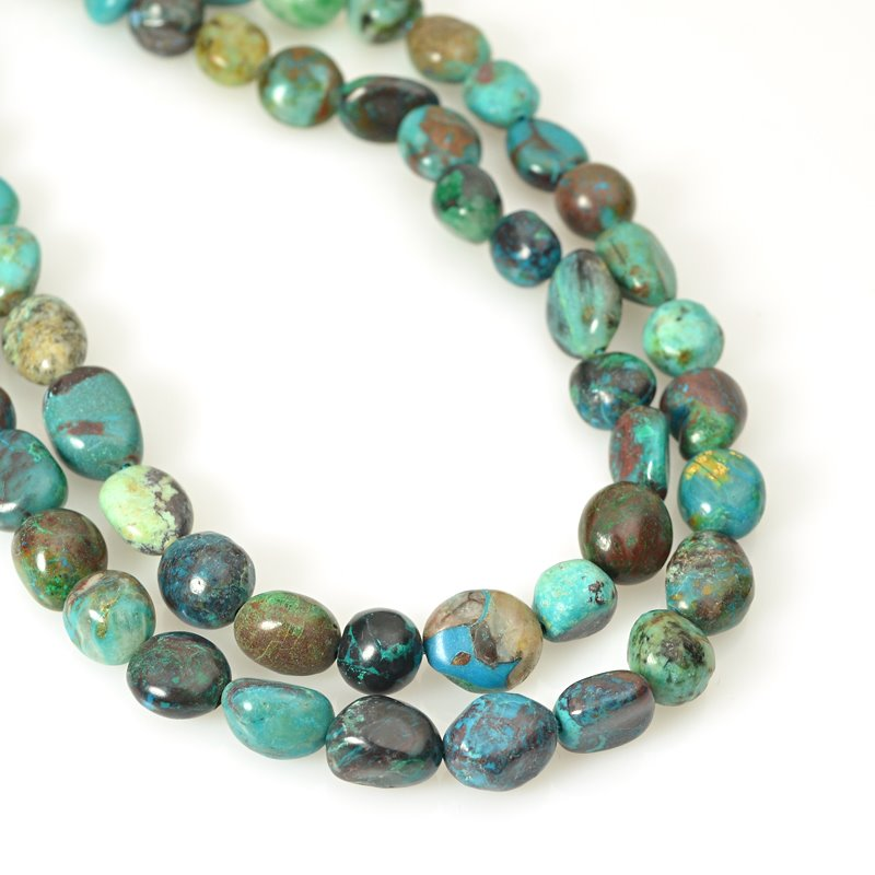 s62452 Stone Beads - 8x10mm Pebble - Chrysocolla (strand)