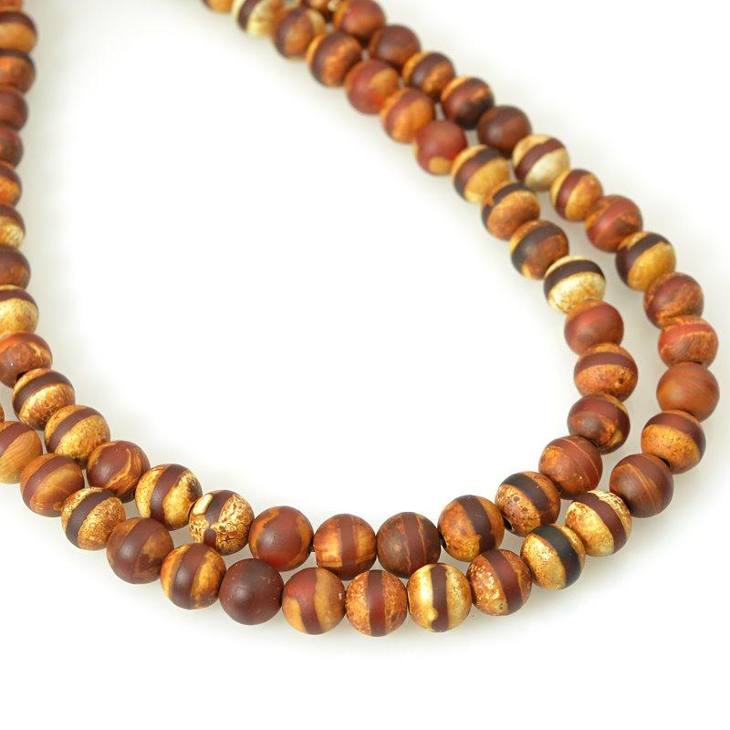 s62455 Stone Beads - 6mm Round - Matte Dzi Agate Brown Line (strand)