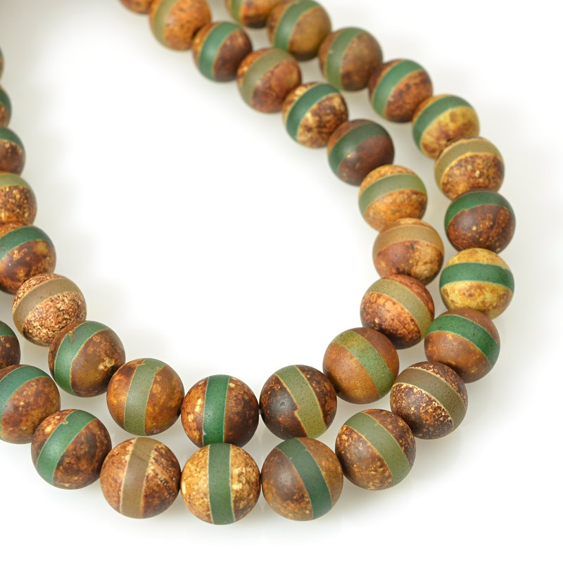 s62457 Stone Beads - 10mm Round - Matte Dzi Agate Green Line (strand)