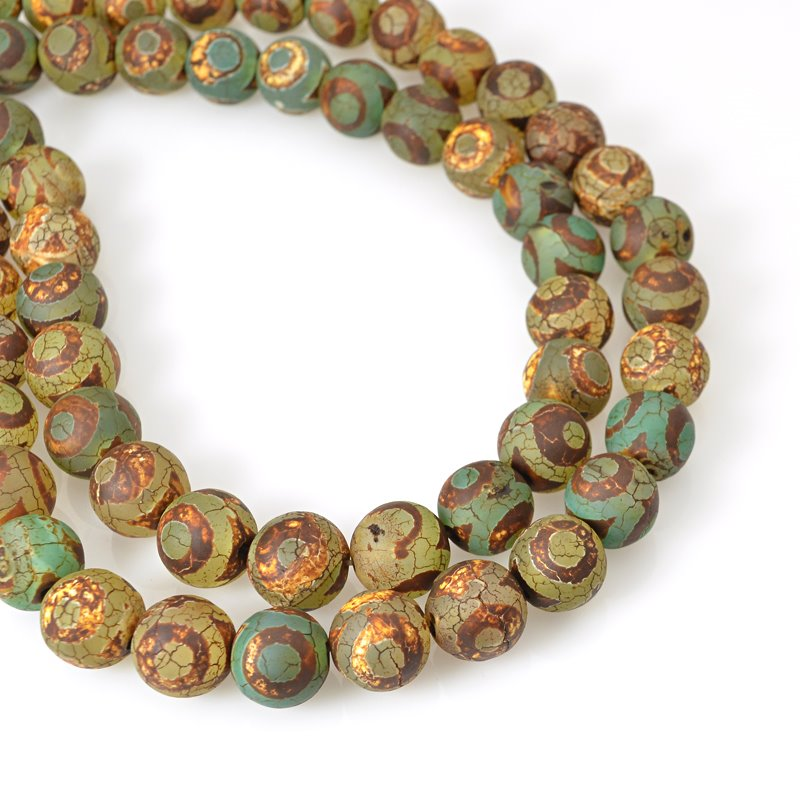 s62459 Stone Beads - 12mm Round - Matte Dzi Agate Green Eye (strand)