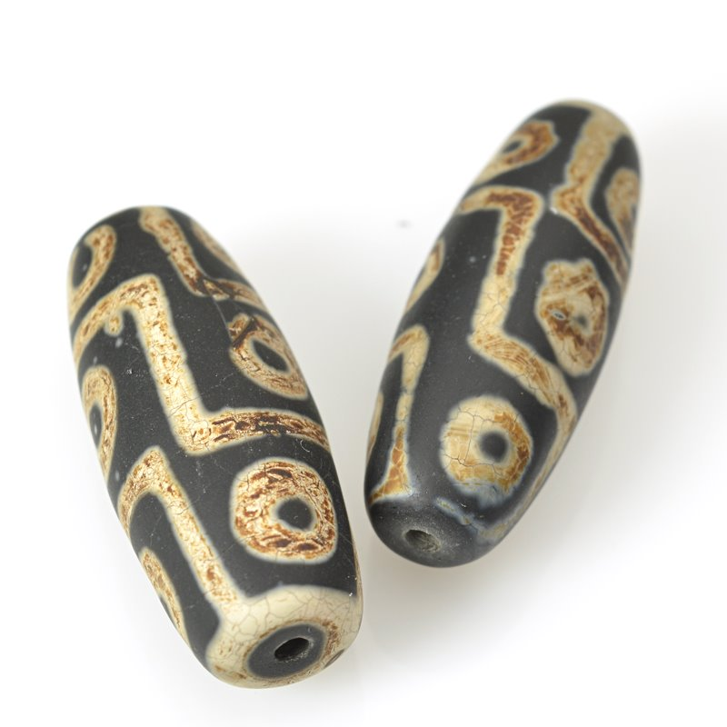 s62461 Stone Beads - 14x40mm Barrel - Matte Dzi Agate Black Eye