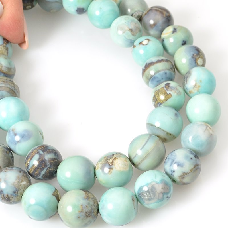 s62463 Stone Beads - 12mm Round - Terra Agate (strand)