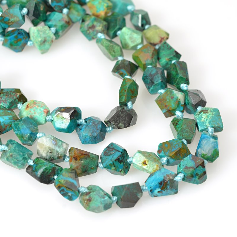 s62464 Stone Beads - 5-10mm Faceted Nuggets - Chrysocolla (strand)
