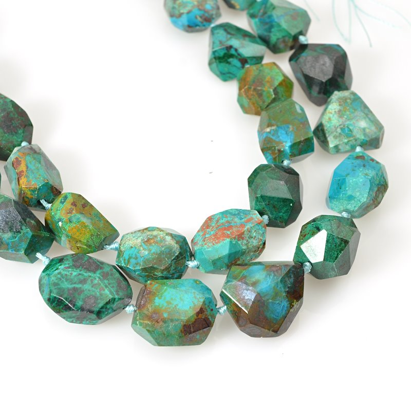 s62465 Stone Beads - 14-18mm Faceted Nuggets - Chrysocolla (strand)