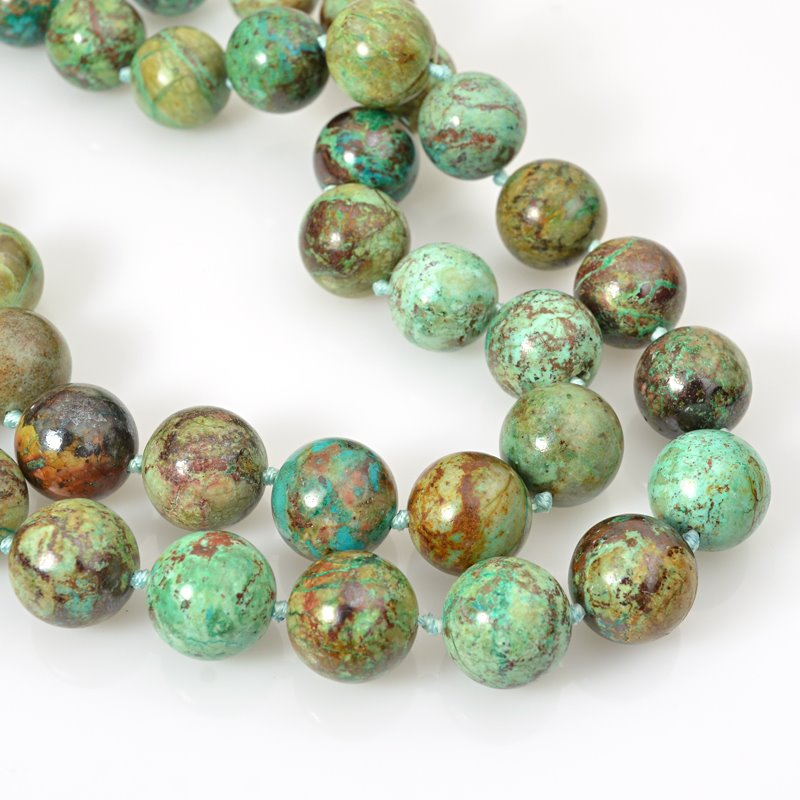 s62466 Stone Beads - 15-16mm Rounds - Chrysocolla (strand)