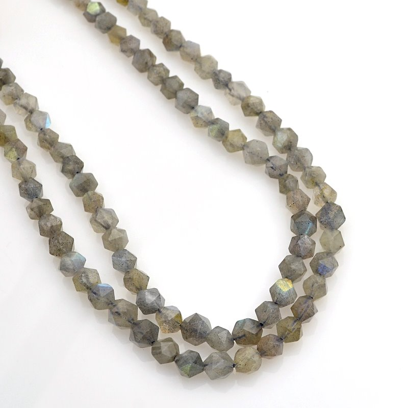 s62467 Stone Beads - 6mm Star Cut Round - Labradorite (strand)