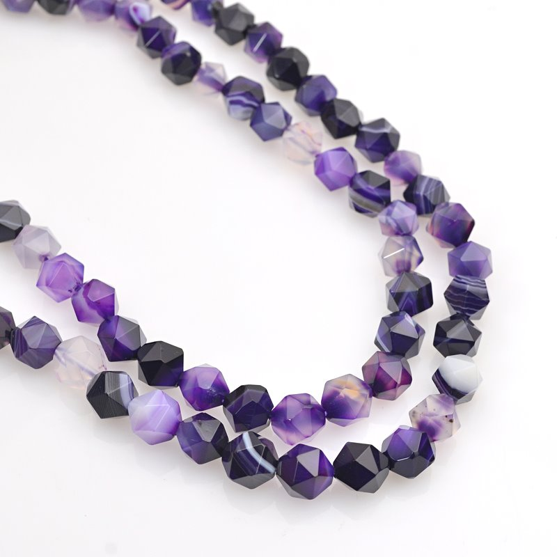 s62469 Stone Beads - 8mm Star Cut Round - Sardonyx - Purple (strand)