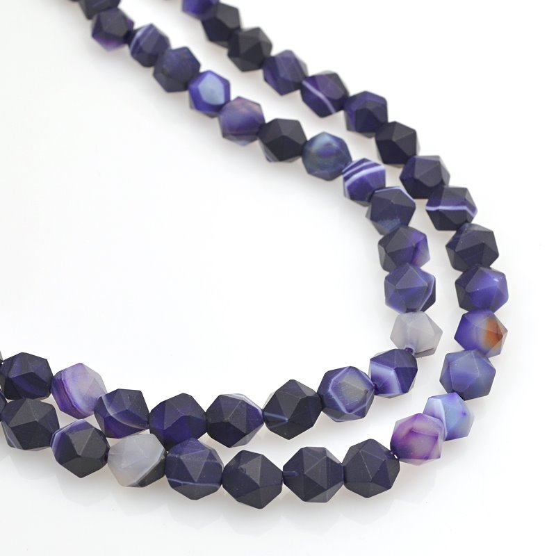 s62470 Stone Beads - 8mm Star Cut Round - Matte Sardonyx - Purple (strand)