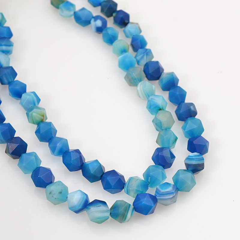 s62471 Stone Beads - 8mm Star Cut Round - Matte Sardonyx - Blue (strand)