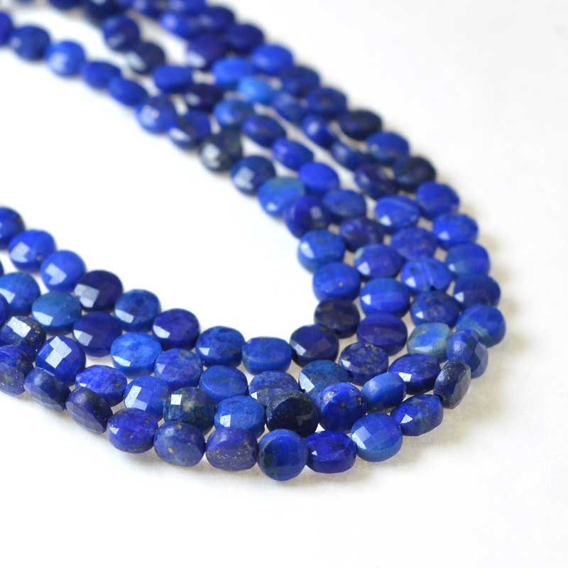 s62482 Stone Beads - 4mm Diamond Cut Faceted Coin - Lapis Lazuli (strand)