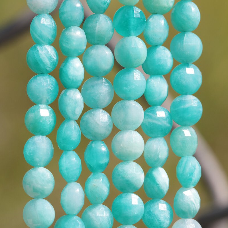 s62486 Stone Beads - 4mm Diamond Cut Faceted Coin - Amazonite (strand)