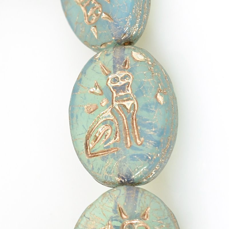 s62502 Czech Glass Beads - 12mm Hieroglyphic Cat - Aquamarine (Strand 12)