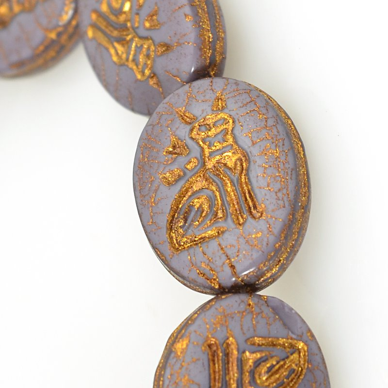 s62505 Czech Glass Beads - 12mm Hieroglyphic Cat - Mauve Silk (Strand 12)