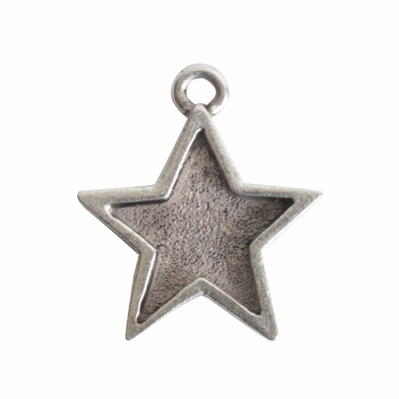 s62513 Charm - 16mm Mini Star Bezel - Antiqued Silver
