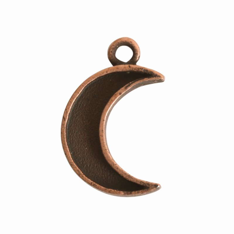 s62514 Charm - 18mm Mini Crescent Moon Bezel - Antiqued Copper