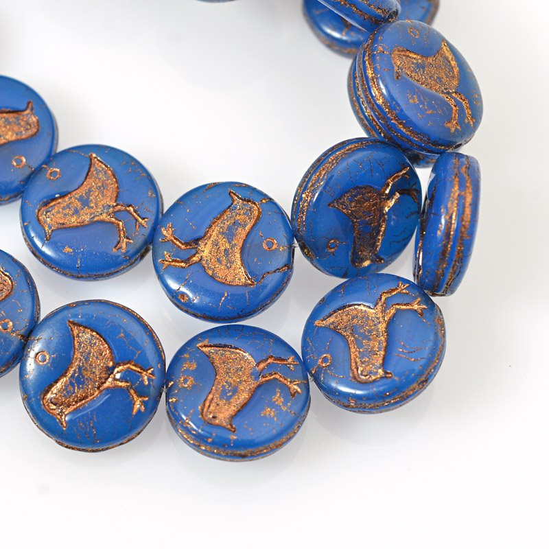 s62517 Glass Beads - 11.5mm Coin with Bird - Navy Blue (Strand 15)