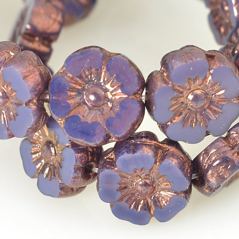 s62565 Czech Glass - 10mm Hibiscus Flower - Purple Opaline Bronze (12)