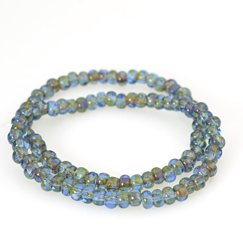 s62574 Czech Glass - 6/0 Cut Rocailles - Montana Picasso (strand)