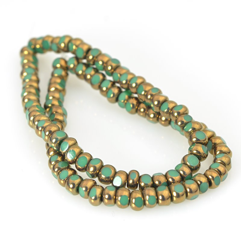 s62578 Czech Glass - 6/0 Cut Rocailles - Turquoise Green Bronze (strand)