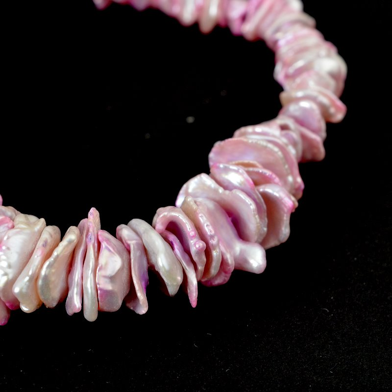 s62584 Freshwater Pearls - 15mm Disk Keishi - Rose Pink Mix (strand)