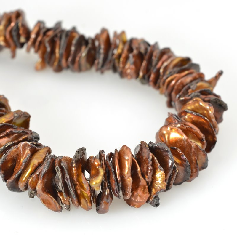 s62585 Freshwater Pearls - 15mm Disk Keishi - Copper Bronze Mix (strand)