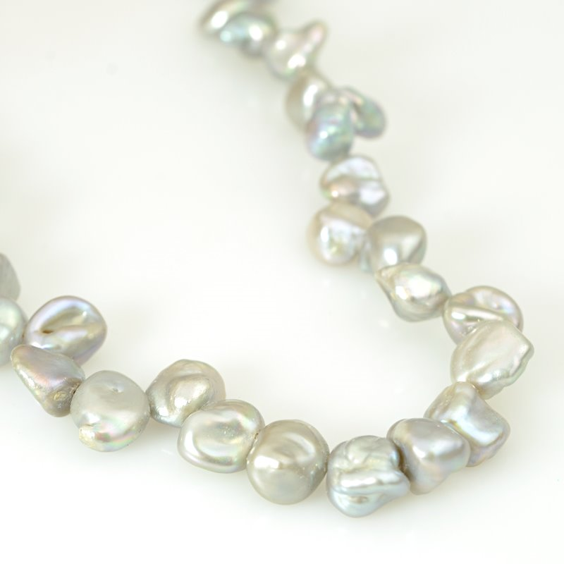 s62589 Freshwater Pearls - 9x6mm Baroque Keishi Pearls - Silver Grey (strand)