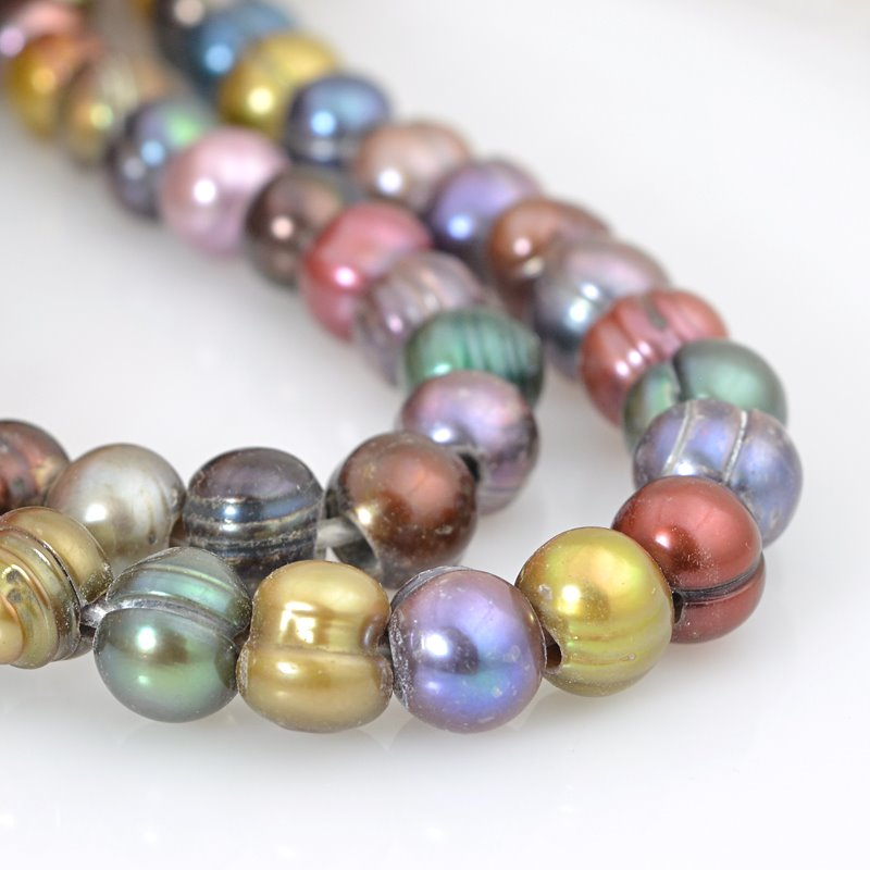 s62592 Freshwater Pearls - 8mm Near Round Pearl - Big Hole - Dark Multi Mix (strand)
