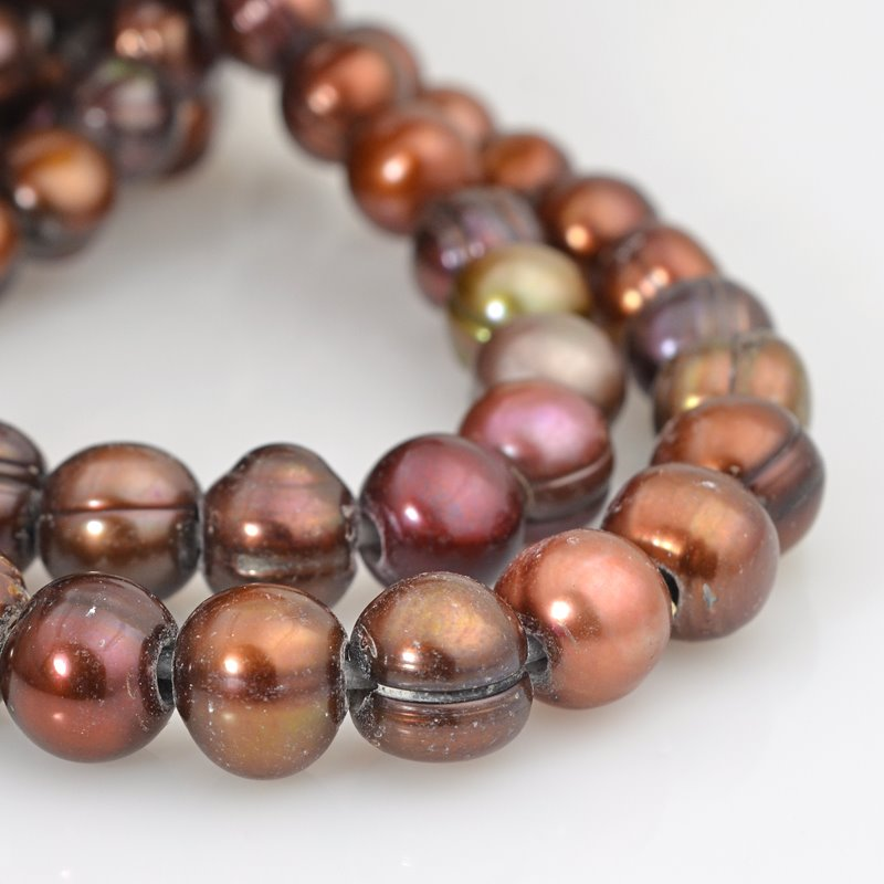 s62594 Freshwater Pearls - 10mm Near Round Pearl - Big Hole - Copper Bronze Mix (strand)