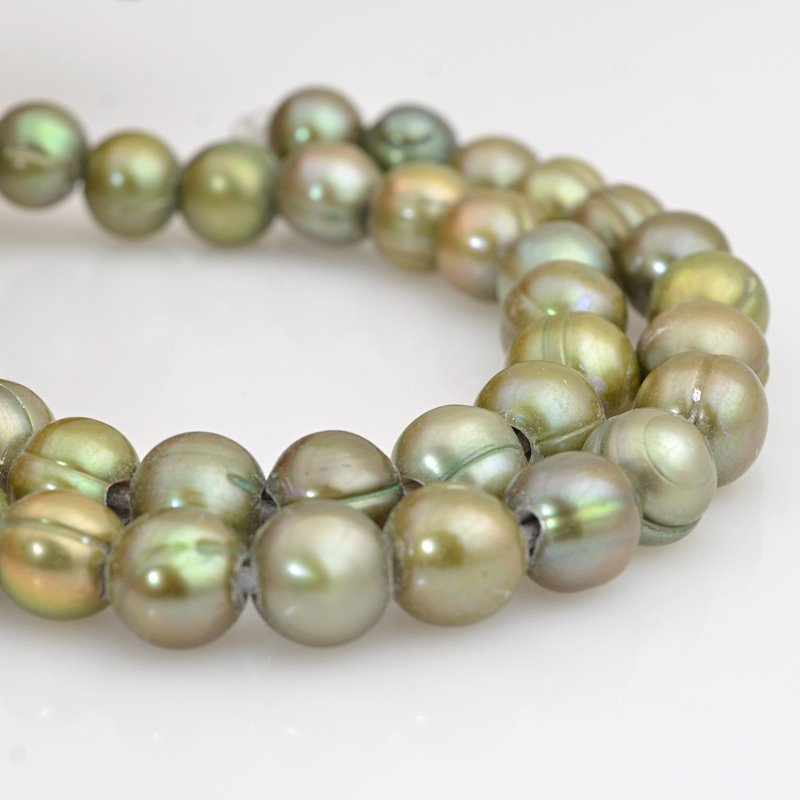 s62595 Freshwater Pearls - 9.5mm Near Round Pearl - Big Hole - Sage Green (strand)