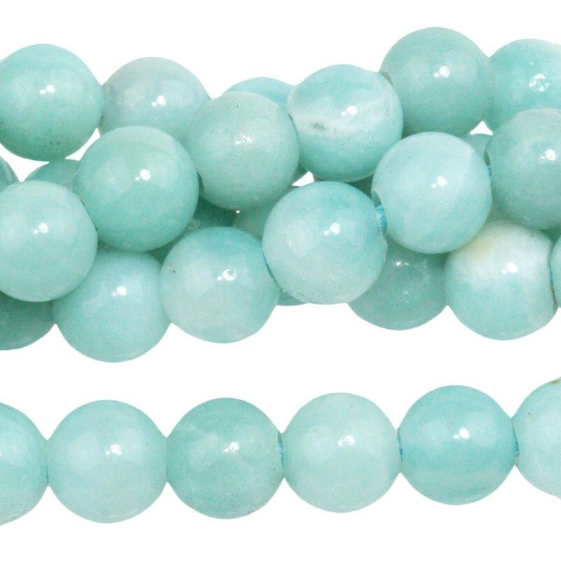 s62605 Stone Beads - 8mm Big Hole Round - Amazonite (short strand)