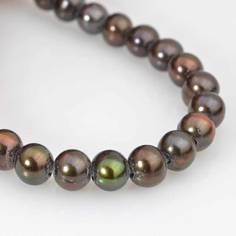s62631 Freshwater Pearls - 9mm Near Round Pearl - Big Hole - Bronze (strand)