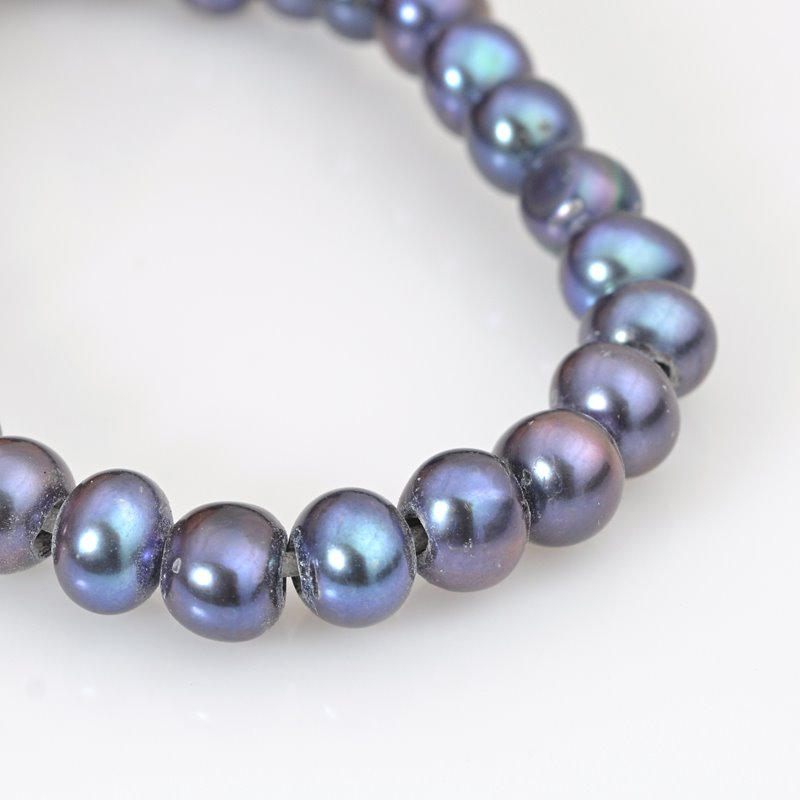 s62632 Freshwater Pearls - 9mm Near Round Pearl - Big Hole - Steel Blue (strand)