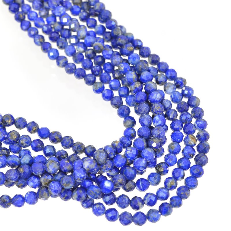 s62647 Stone Beads - 4mm Faceted Rounds - Lapis Lazuli (strand)