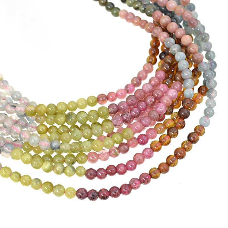 s62648 Stone Beads - 3.5mm Rounds - Tourmaline Mix (strand)