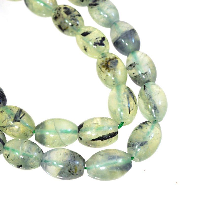 s62651 Stone Beads - 10x14mm Oval Barrel - Prehnite (strand)