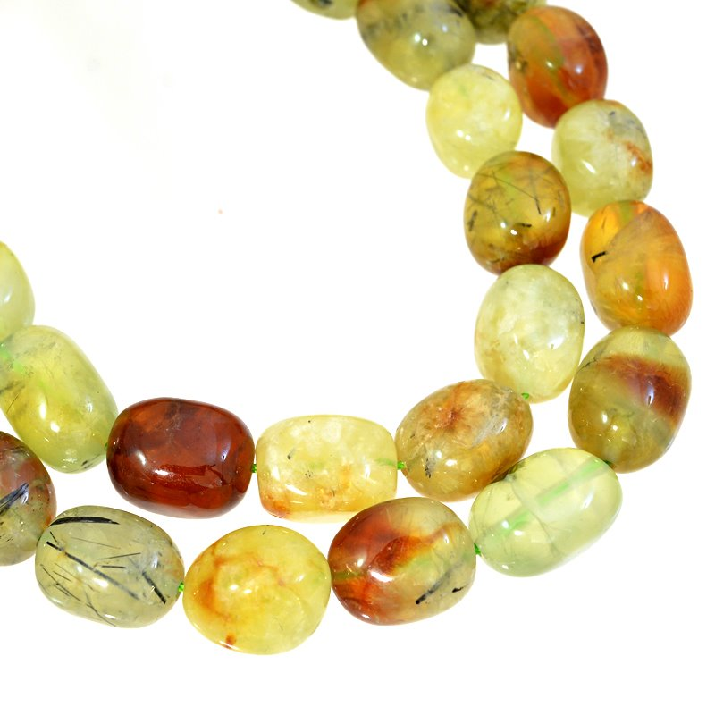 s62653 Stone Beads - 11x15mm Tumbled Nuggets - Green/Brown Prehnite (strand)
