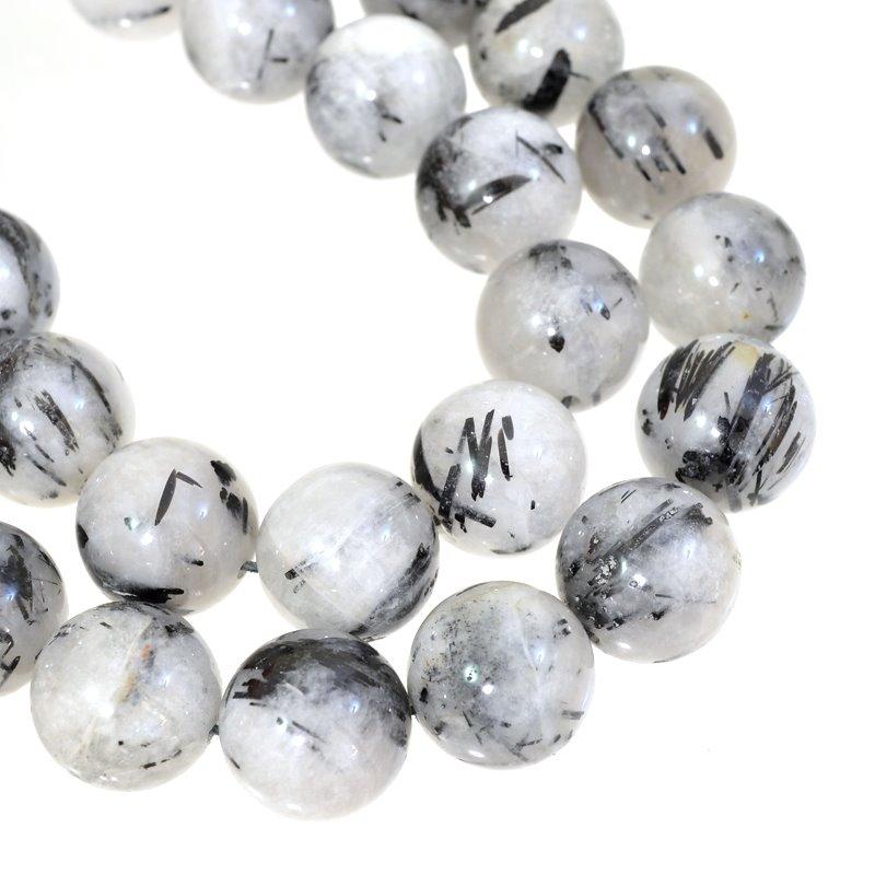 s62654 Stone Beads - 14.5mm Rounds - Black Rutilated Quartz (strand)
