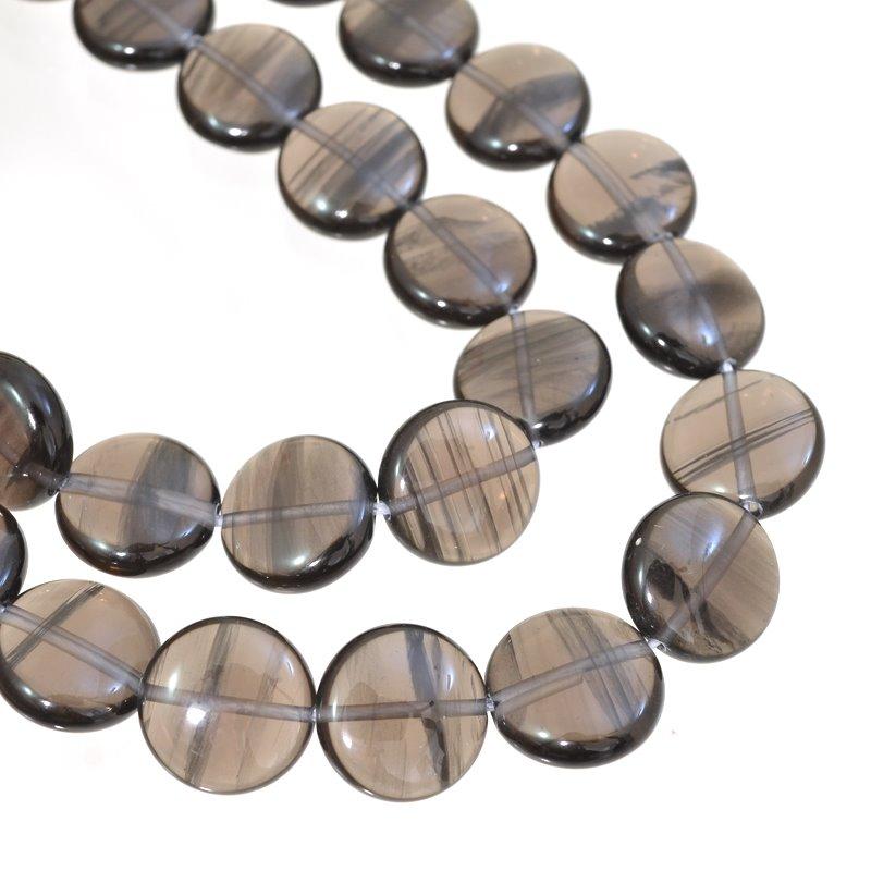 s62655 Stone Beads - 14mm Coin - Smokey Quartz (strand)